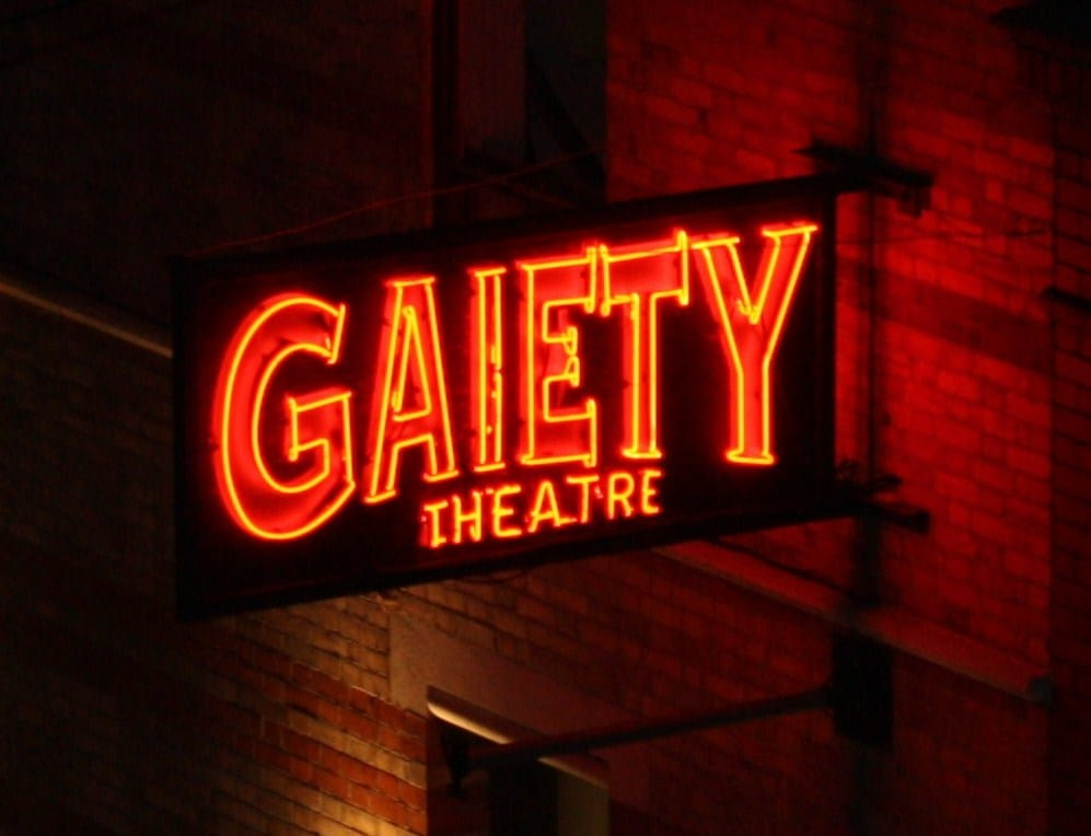 Gaiety Neon Sign made for the Gaiety Theatre