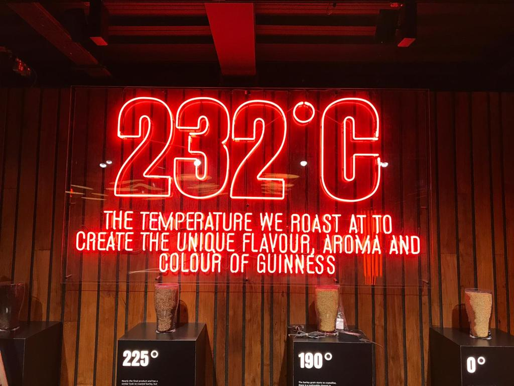 232 degrees celcius the temperature we roast at to create the unique flavour aroma and colour of our guinness.