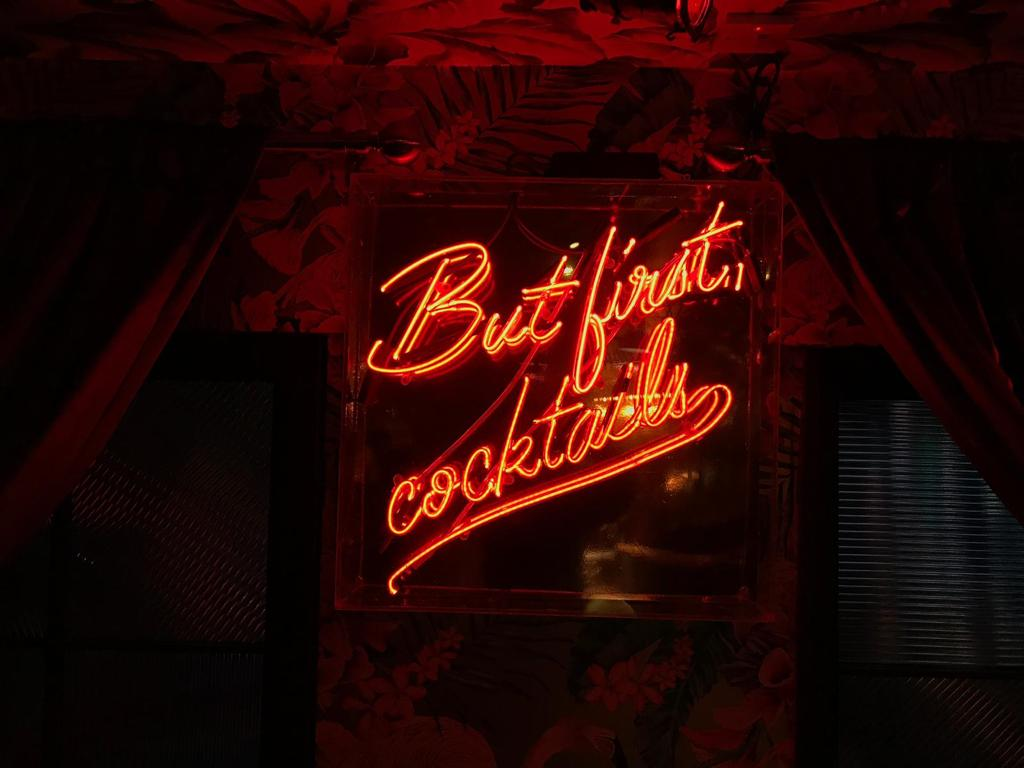 But first cocktails italics tube lighting casual