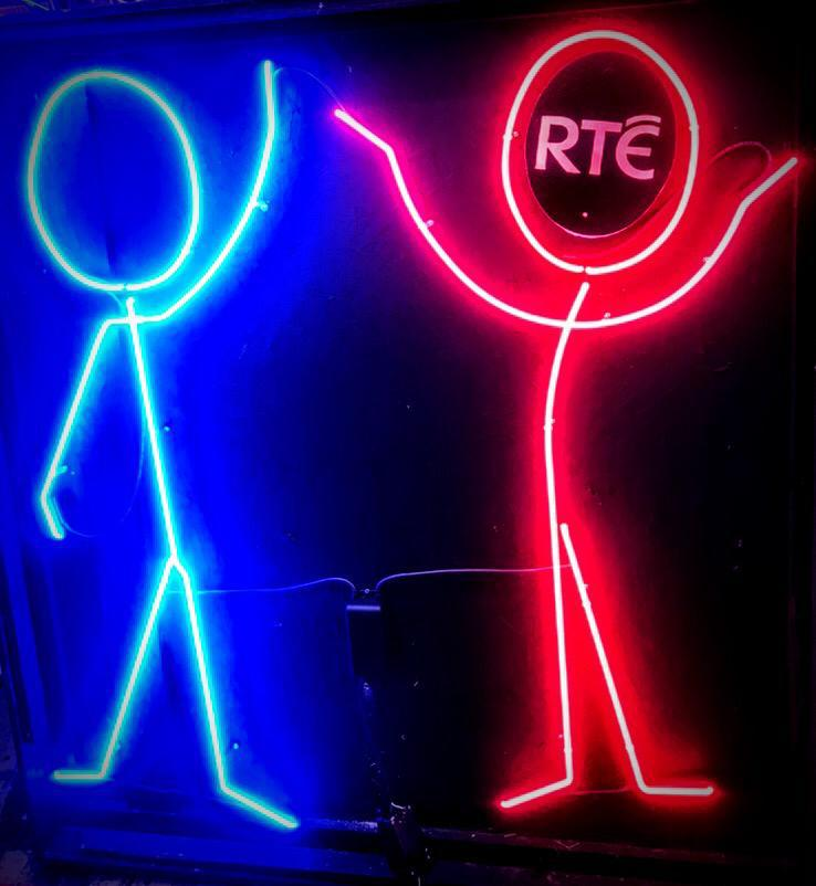 Blue and Pink Stick people dancing Neon Lights