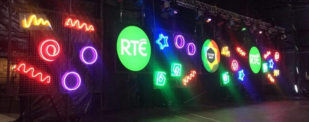 RTE neon signage and light boxes colourful
