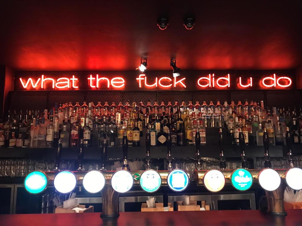 What the fuck did you do made with neon tube lights glass