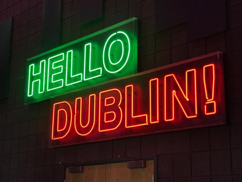 Hello Dublin sign hanging at the entrance to the event