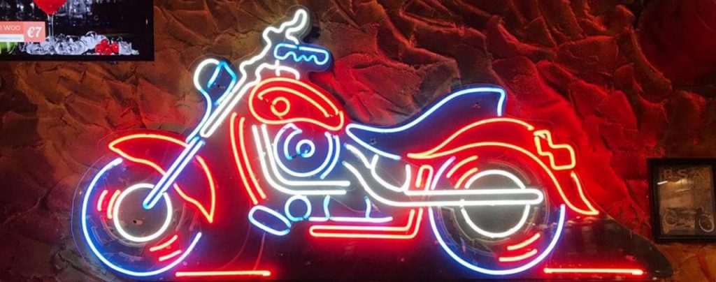 contact us Motorbike neon sign vibrant blue white red