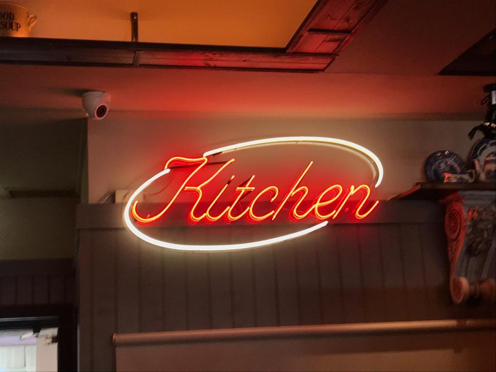 kitchen neon logo design red