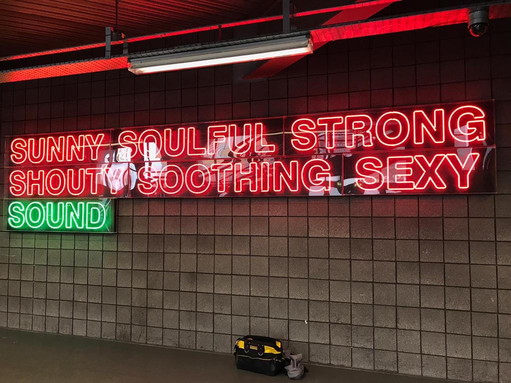 neon sign sunny soulful strong shout soothing sexy sound