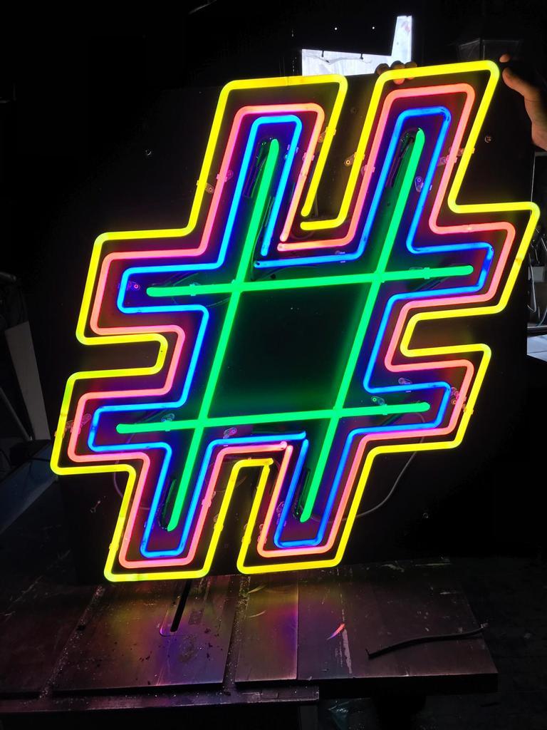 hashtag # logo in neon lights